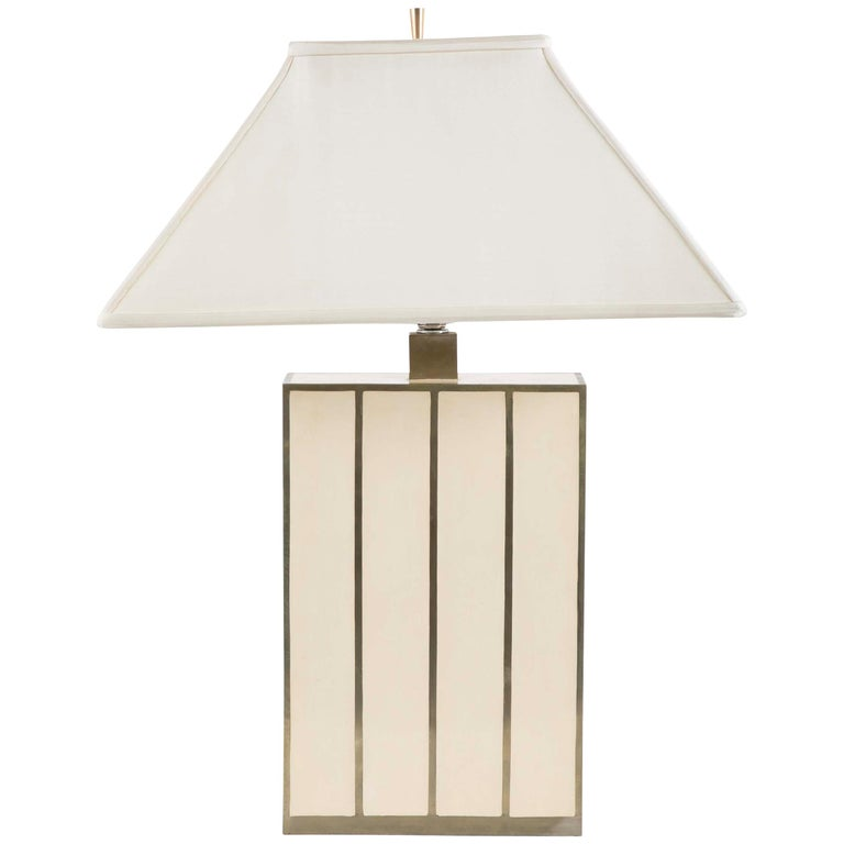 Robert Kuo Table Lamp with Ivory Colored Panels and Brass Banding For Sale