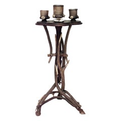 Rustic Continental Antler Design Pedestal Base Smoking Stand