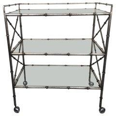 Silber Vergoldet Eisen Kunst-Bambus Stil Dreistufiger Barwagen mit Glasböden