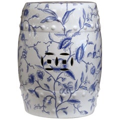 Mid-20th Century Chinese Porcelain Garden Stool with Foliage Decor