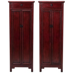 Pair of Early 20th Century Chinese Narrow Noodle Cabinets