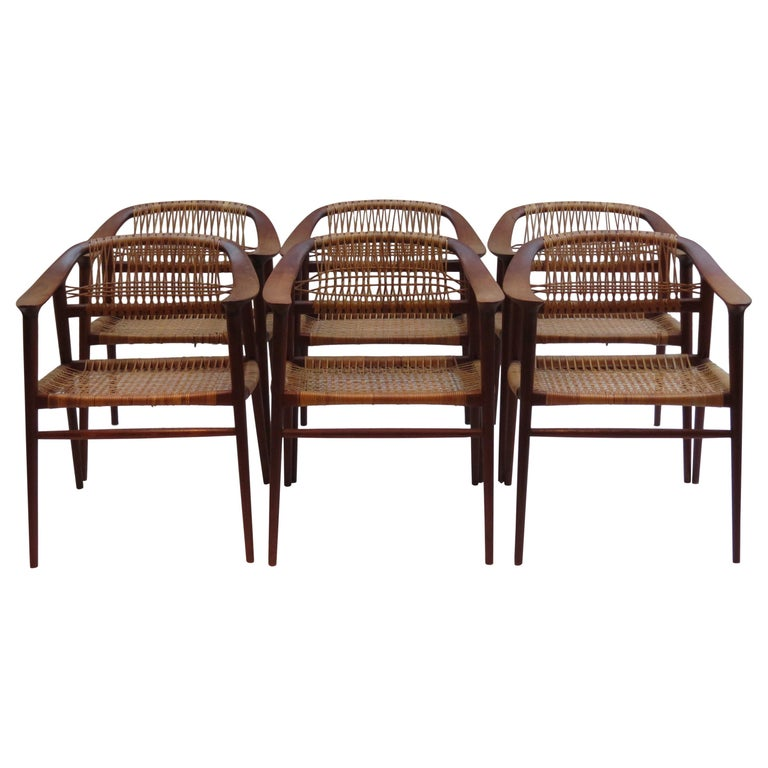 Set of 6 Bambi Dining Chairs by Rolf Rastad and Adolf Relling Norway For Sale