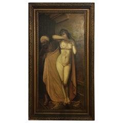 Nude Slave Harem Girl Oil On Canvas Painting by Arthur Edwin Bracy