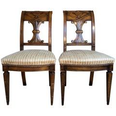 19th Century Pair of Wooden German Neoclassical Empire Side Chairs Biedermeier