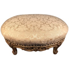 Gold Tabouret 19th Century French Louis XVI Carved Giltwood Footstool Straw