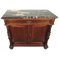 European Walnut Carved Marble-Top, Two-Drawer, Two-Door Cabinet, Bar, circa 1900