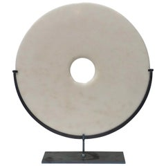 Smooth White Marble Disc, China, Contemporary