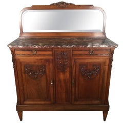 French Carved Walnut Two-Door Marble-Top Server with Mirrored Back