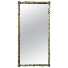 Italian Carved Silver Giltwood Faux Bamboo Wall Mirror