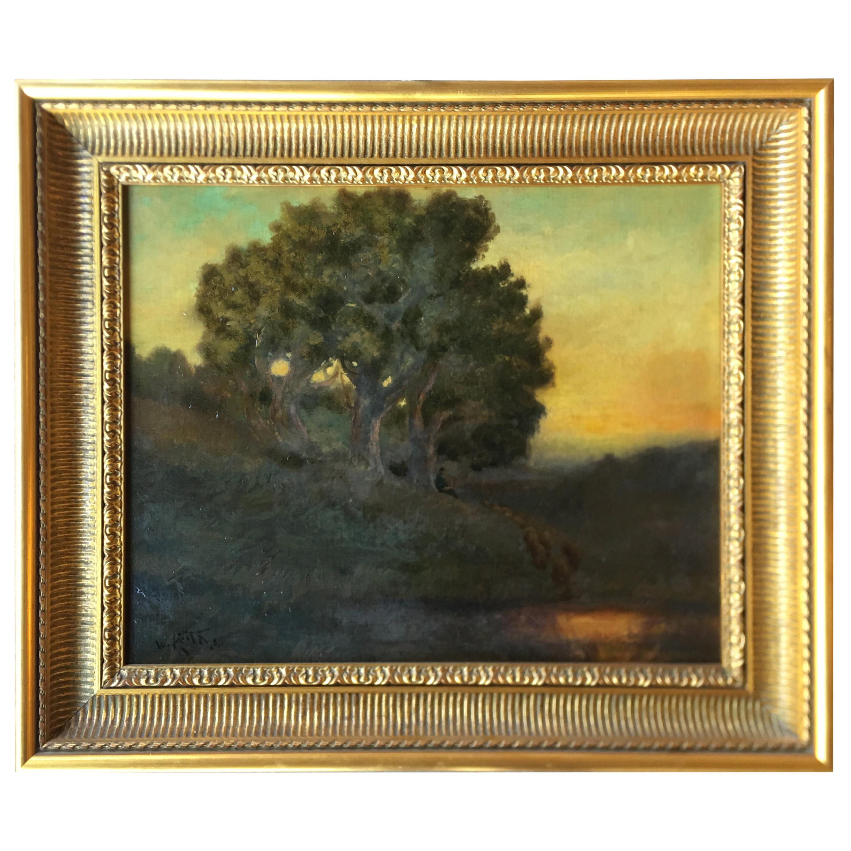 William Keith Original Tonal Oil Painting of California Misty Woodland Landscape