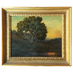 William Keith Original Tonal Oil Painting of California Misty Woodland Landscape