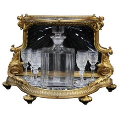 19th Century Dore Bronze and Crystal Tantalus Set