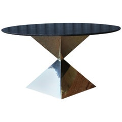 Custom Dining Table with Brass Plated Base and Stone Top