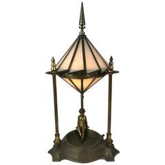 Classic Art Deco Boudoir Lamp Stunning Ziggurat Leaded Shade