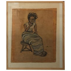 Oil Painting on Batik by Uganda Artist Henry Lumu