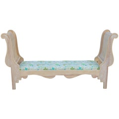 Vintage Carved Wood Sleigh Bench