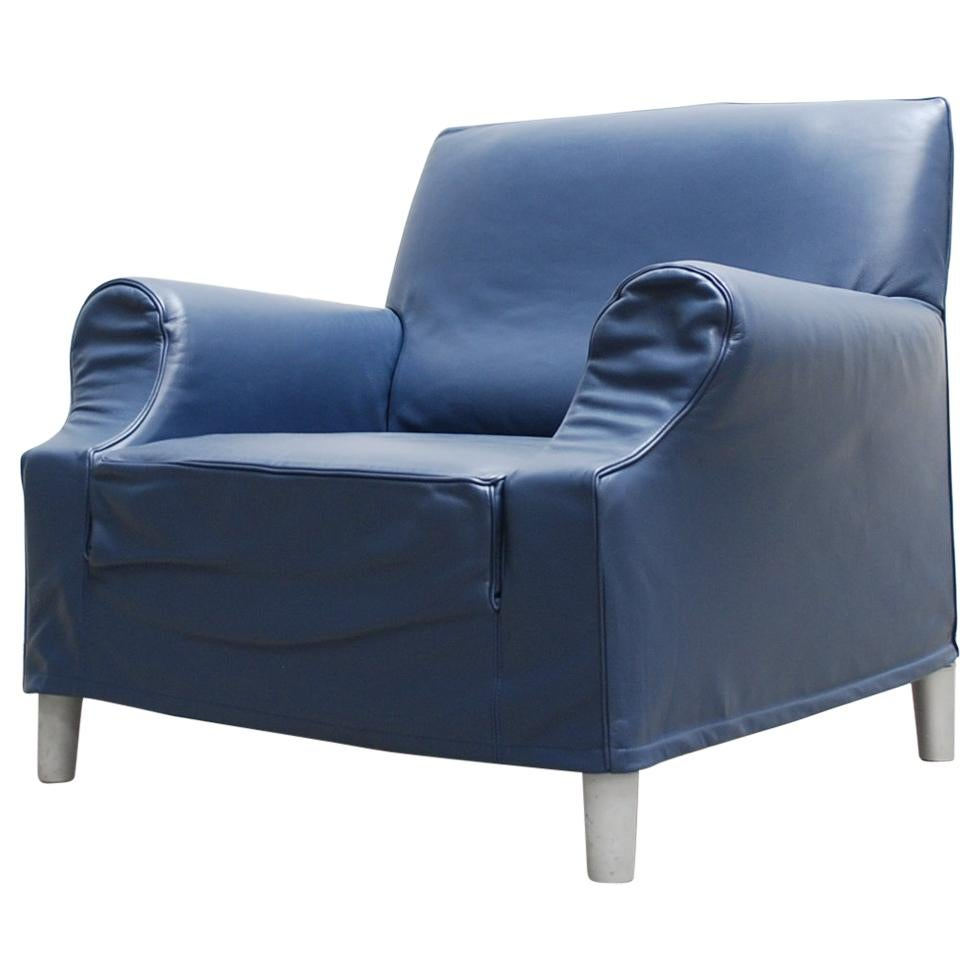 Cassina Model Lazy Working Chair Blue Leather Armchair by Philippe Starck
