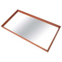 Danish Modern Beveled Edge Teak Wall Mirror