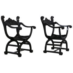 Set of Two Ebonized Savonarola Style Armchairs