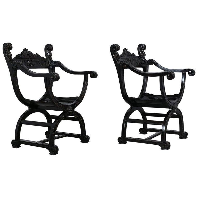Set of Two Ebonized Savonarola Style Armchairs For Sale