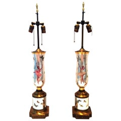 1940'S Pair Of Silver Leaf Reverse Painted Art Glass Ballerina & Butterfly Lamps