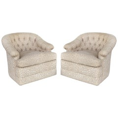 Upholstered Swivel Club Chairs with Tufted Backs, Pair