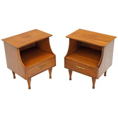 Pair of Midcentury Modern Light Walnut One Drawer Step Nightstands