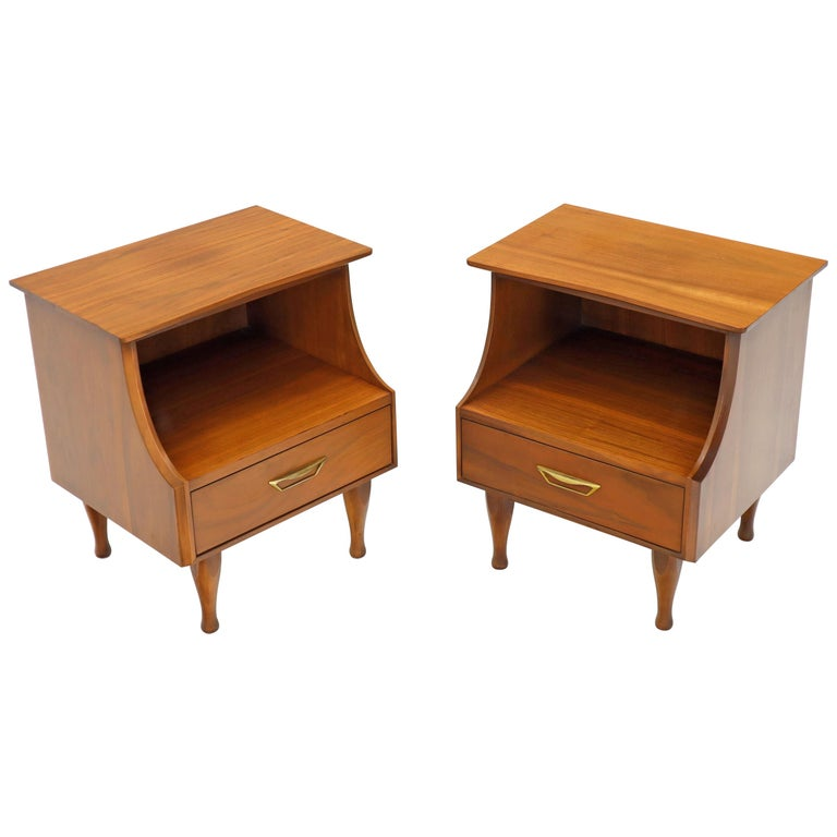Pair of Midcentury Modern Light Walnut One Drawer Step Nightstands For Sale