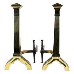 Pair of Gothic Revival Brass Andirons Firedogs in the Style of Augustus Pugin
