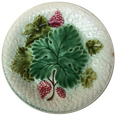 Majolica Grapes Plate Salins Circa 1890
