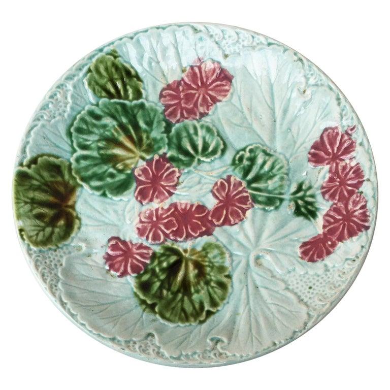 Majolica Geranium Plate Salins, circa 1890 For Sale