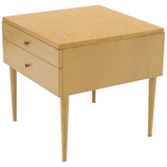 Paul Frankl for Johnson Furniture Cork Top Two Drawer Sqaure End Table Stand