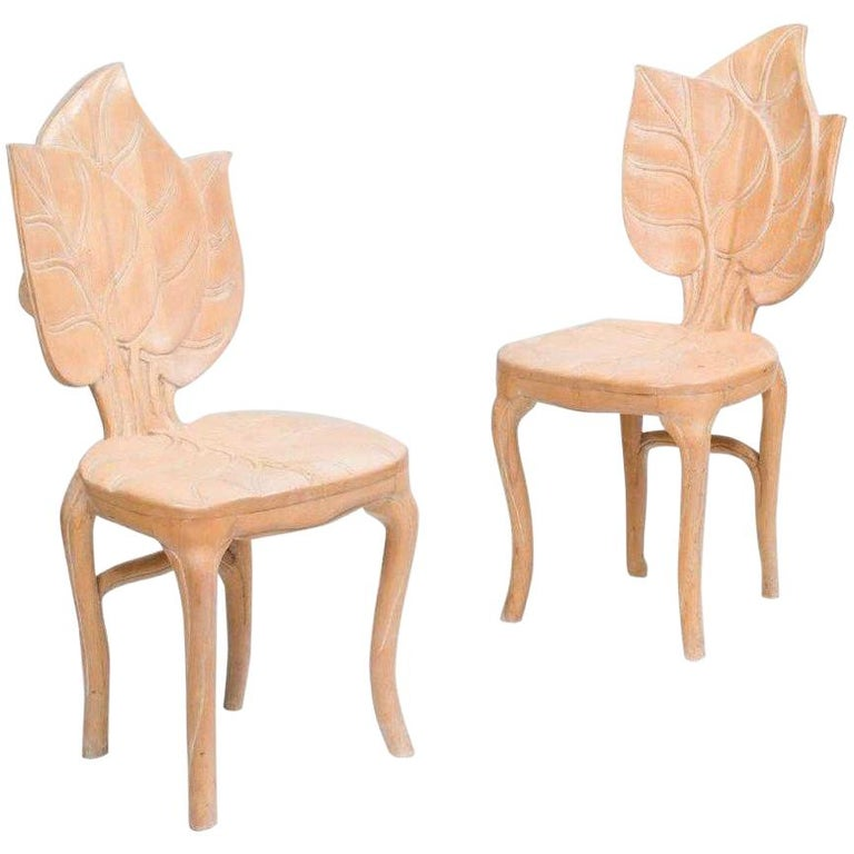 Pair of Bartolozzi & Maioli Carved Wooden Side Chairs For Sale