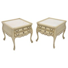 Pair of Country French Provincial End Side Tables Marble Tops
