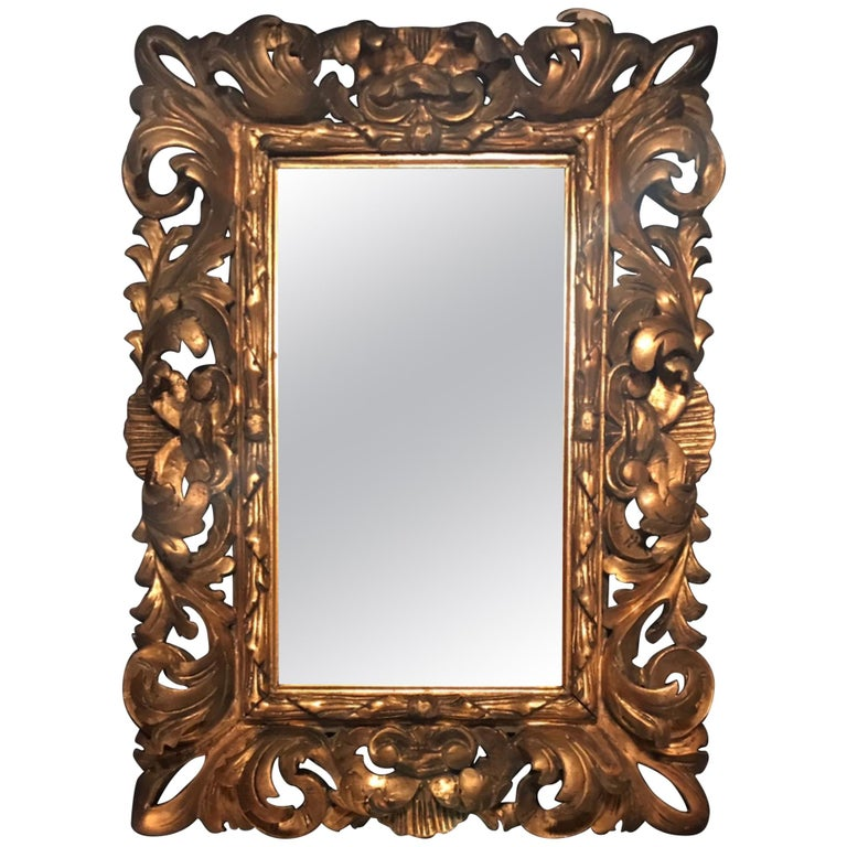 19th Century Florentine Baroque Style Giltwood Hand Carved Mirror Frame For Sale