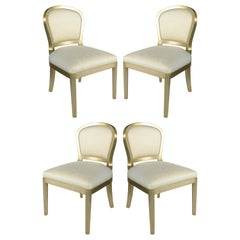 Silver Leaf Dining Chairs with Fluted Legs, Set of 4