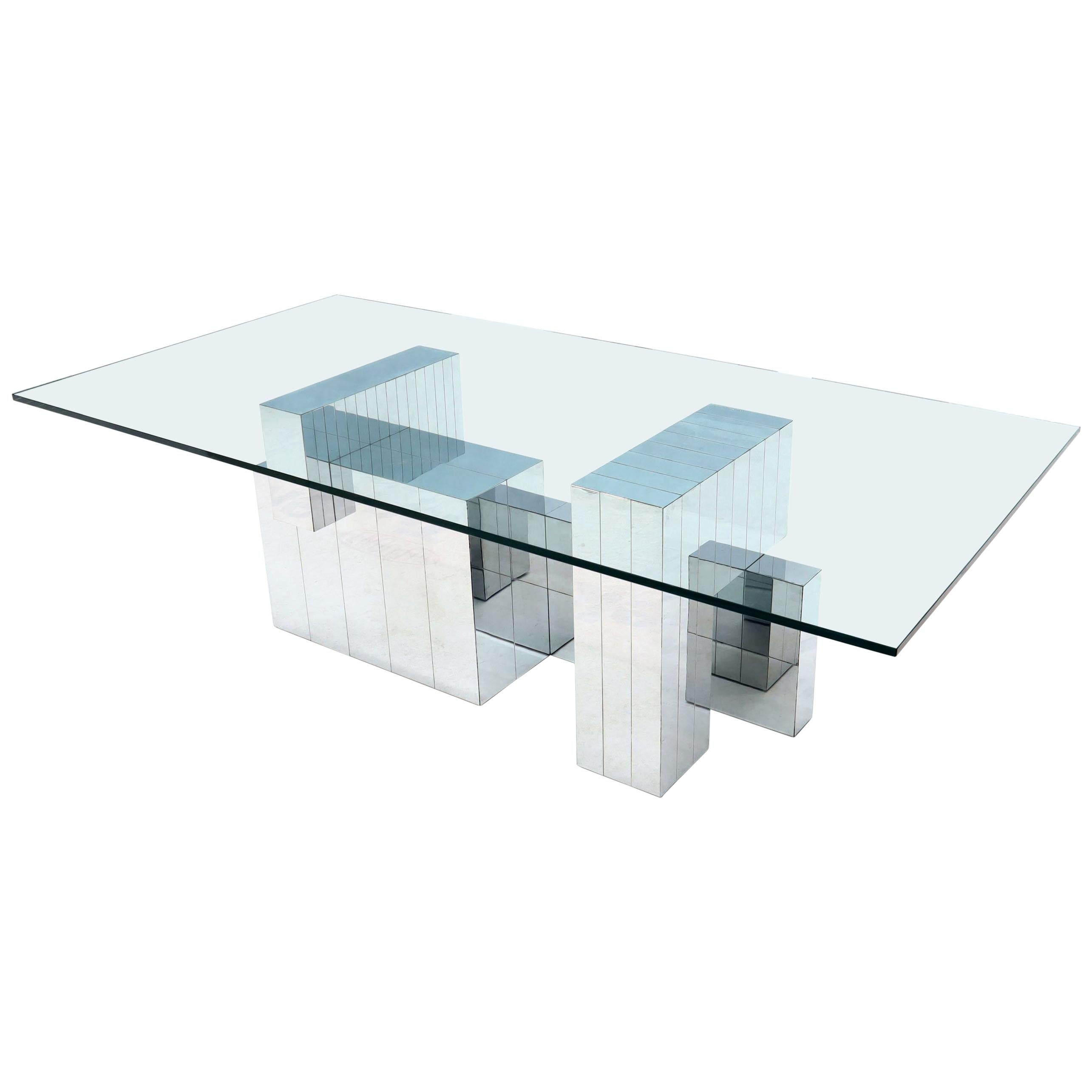 Paul Evans for Directional Large Chrome Glass Top Dining Conference Table