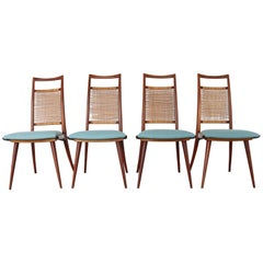 Set of 4 Danish Teak Dining Chairs with Braided Backs, 1960s