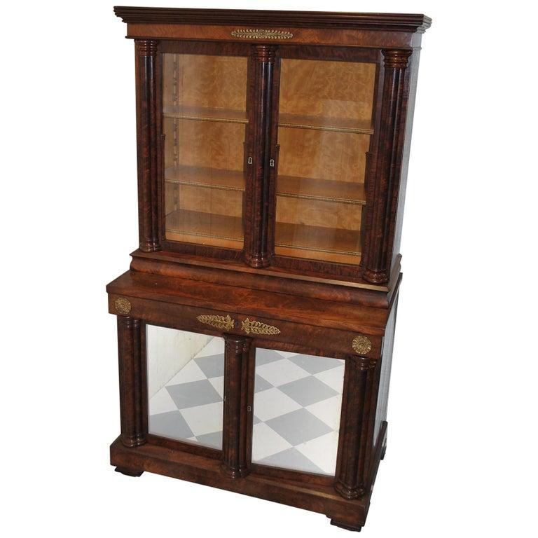 Small Antique French Mahogany Secretaire Bookcase For Sale