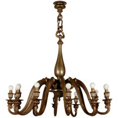 Chandelier Brass Casting Vintage Italy, 1940s