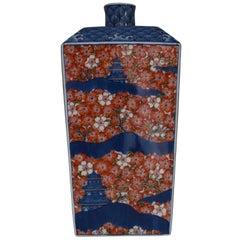 Japanese Contemporary Imari Red Blue Porcelain Vase by Master Artist