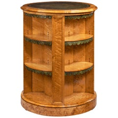 Late Regency Bird's-Eye Maple Cylindrical Open Bookcase Attributed to Gillows