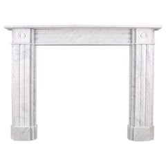 Large Double-Slip Georgian Style Fireplace Surround in Italian Carrara Marble