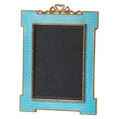 Italian Guilloche Enamel Photo Frame with Gold-Plated Silver Mounts, circa 1970