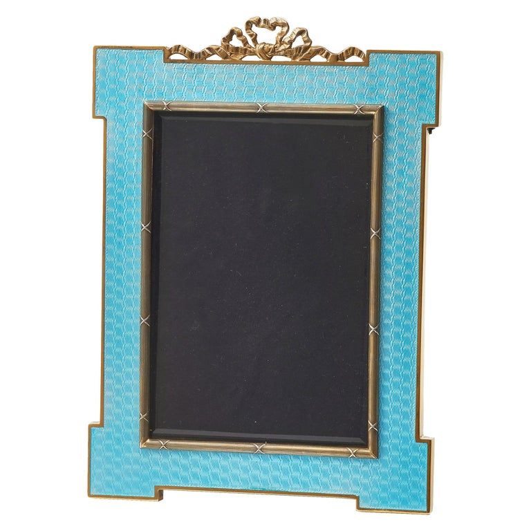 Italian Guilloche Enamel Photo Frame with Gold-Plated Silver Mounts, circa 1970 For Sale