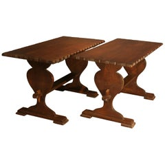Small Antique Oak Side Tables from a Monastery, Switzerland circa 1900, Set of 2