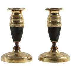 French Empire Period, Pair of Small Bronze Candlesticks, circa 1805