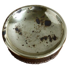 Vintage 1950s Brass Ostrich Leather Coin Tray by Carl Auböck