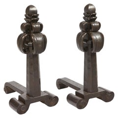Edgar Brandt, Pair of Massive Andirons in Iron, circa 1920