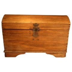Antique Oak Chest with Round Lid, Germany, 1700s